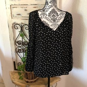 INC polka dot peasant blouse with tie detail